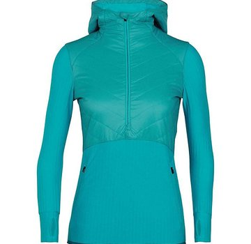 Icebreaker Women's Descender Hybrid Long Sleeve Half Zip Hood