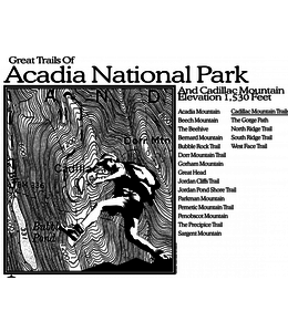 American Backcountry Acadia National Park Topo Emblem Short Sleeve