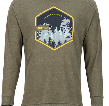 Marmot Men's Deep Forest Long-Sleeve Tee Olive Heather