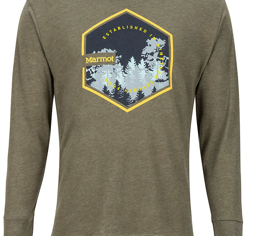 Men's Deep Forest Long-Sleeve Tee Olive Heather