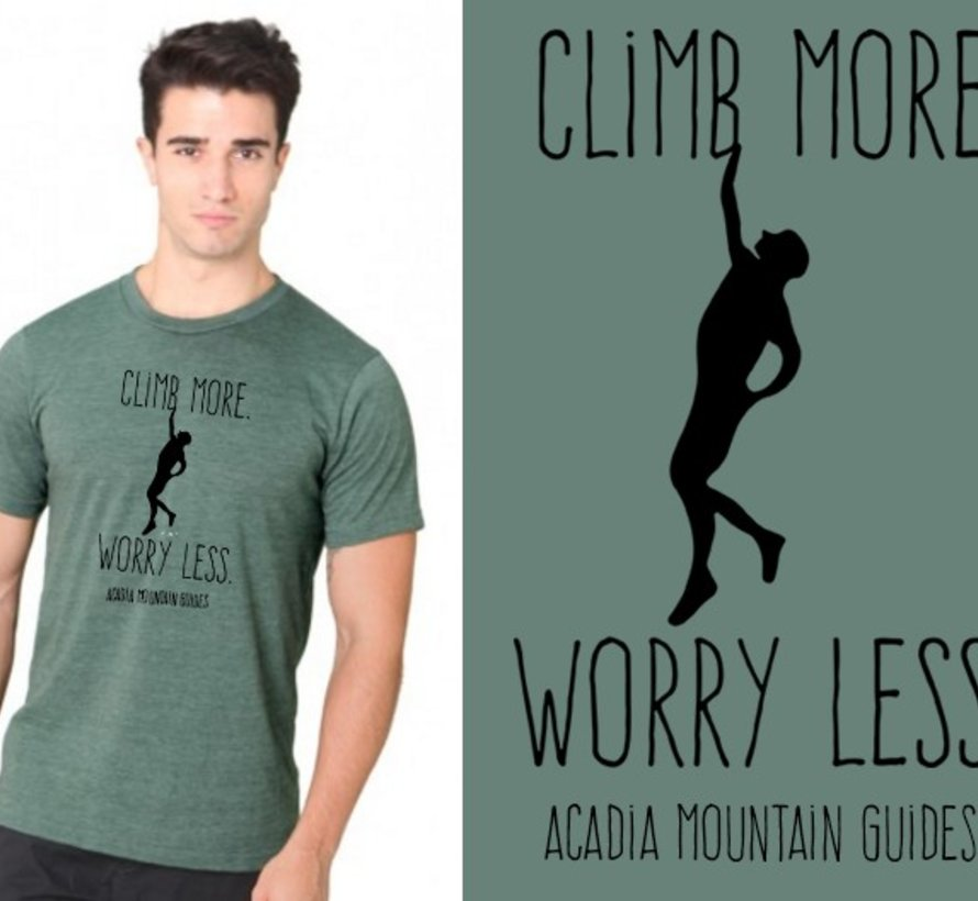 Acadia Mountain Guides Climb More, Worry Less T-Shirt-2020 version