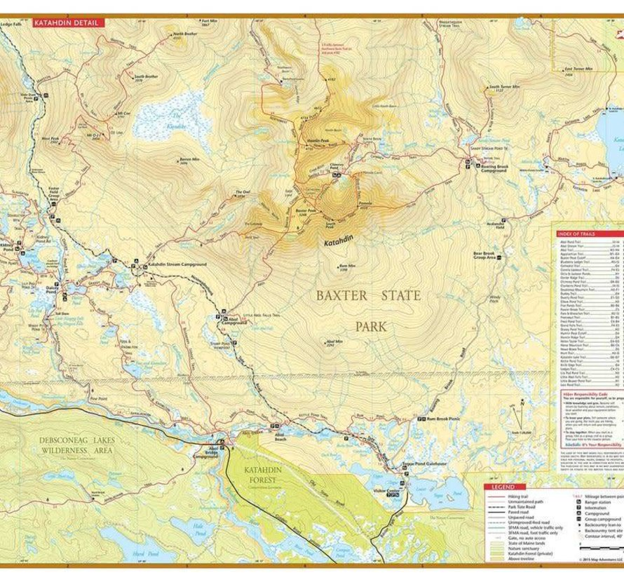Katahdin Baxter State Park Waterproof Trail Map