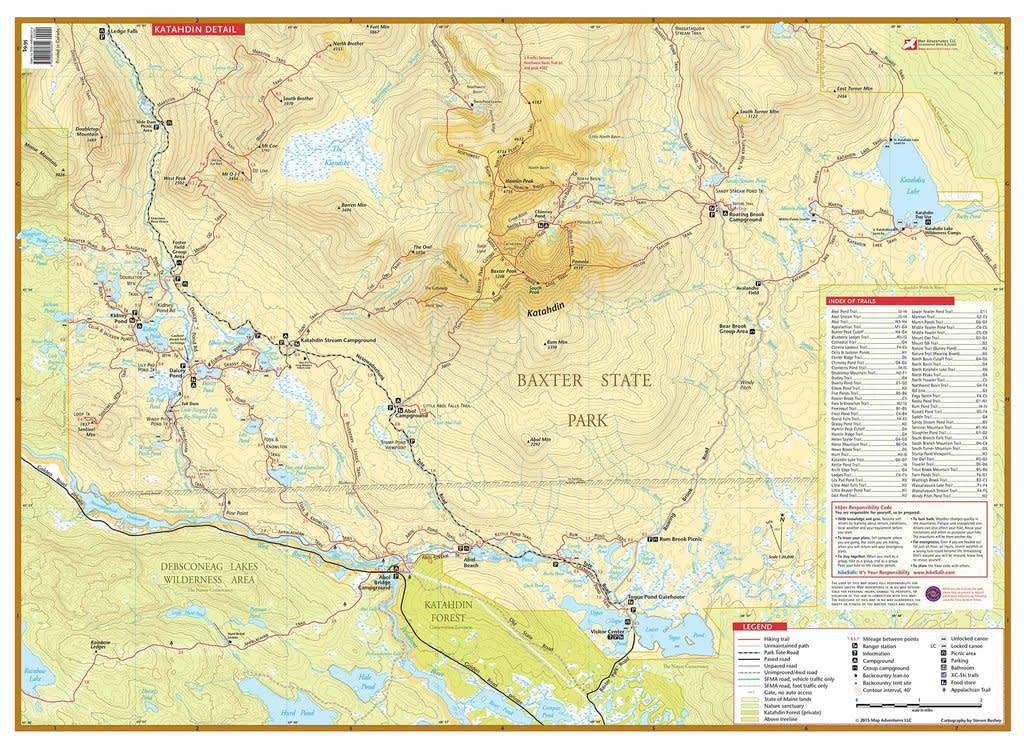 Baxter State Park Map Katahdin Baxter State Park Waterproof Trail Map   Alpenglow