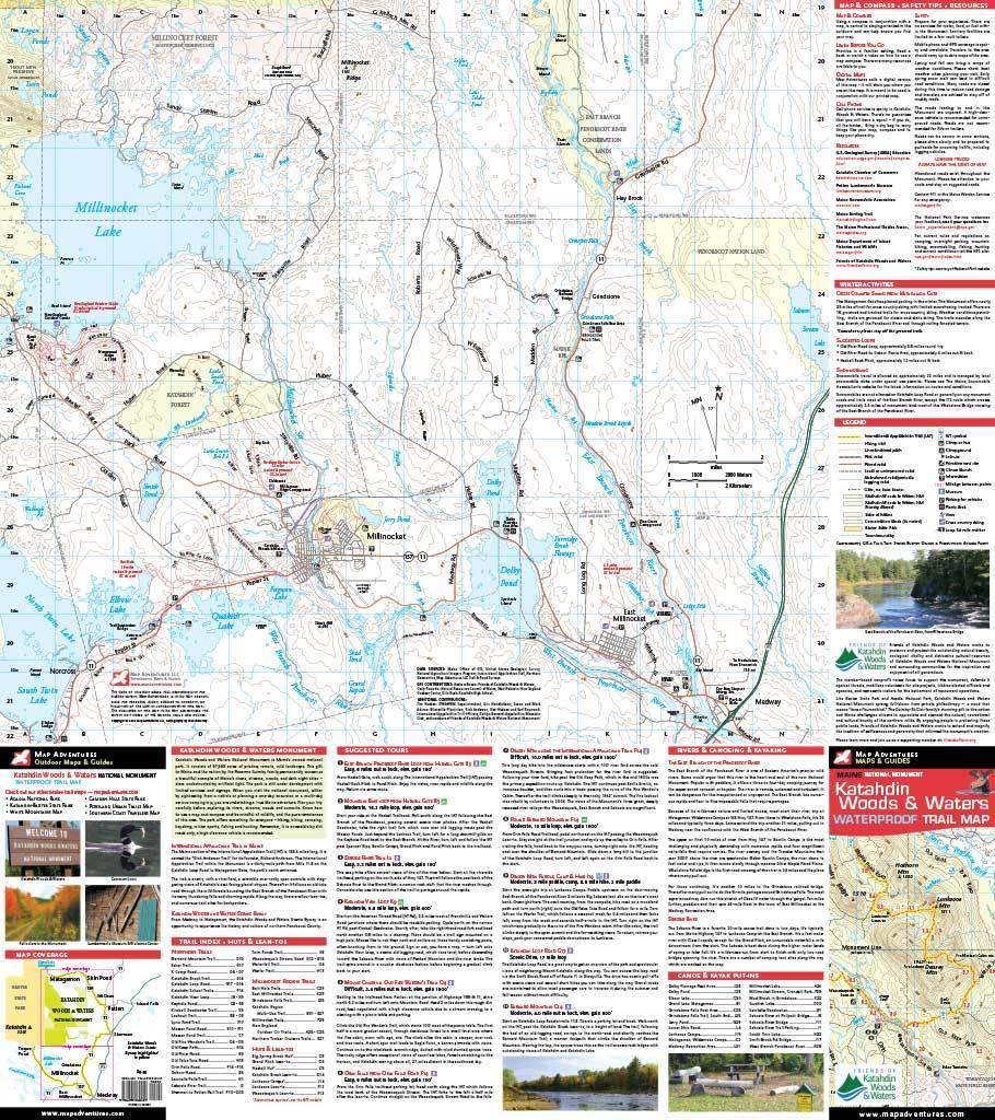 Katahdin Woods & Waters Waterproof Trail Map