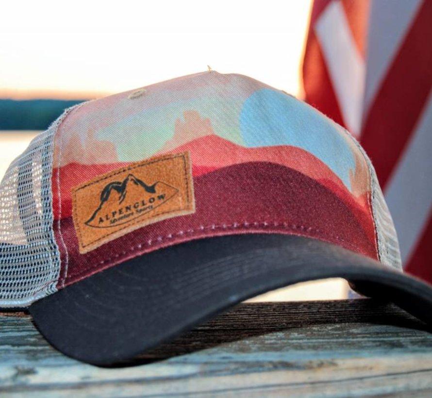 Suede Alpenglow Emblem Trucker Hat