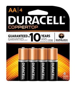 Duracell Coppertop Batteries AA 4 Pack
