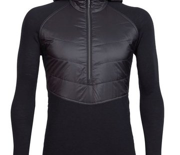 Icebreaker Men's Merinoloft Ellipse Long Sleeve Half Zip Hood Black
