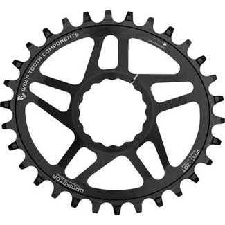 Wolf Tooth Components Wolf Tooth Powertrac Elliptical Drop-Stop Chainring: 30T, forRaceFaceCINCH Direct Mount, Boost Chainline