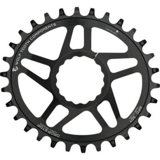 Wolf Tooth Powertrac Elliptical Drop-Stop Chainring: 30T, forRaceFaceCINCH Direct Mount, Boost Chainline