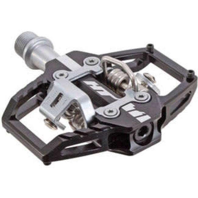 HT Components HT Components T1 Clipless Platform Pedals, CrMo - Black/Silver NLS