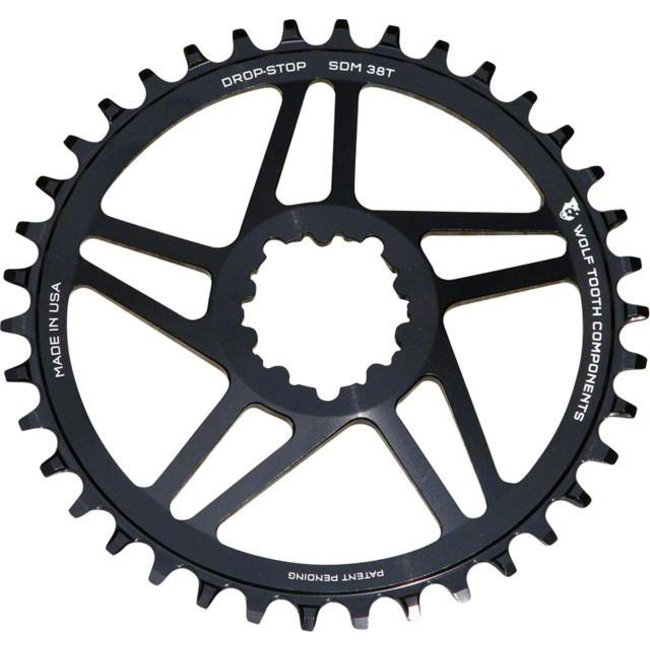 Wolf Tooth Components Direct Mount Drop-Stop 38T Chainring: For SRAM Cranks with Removable Spiders, Black, 6mm Offset