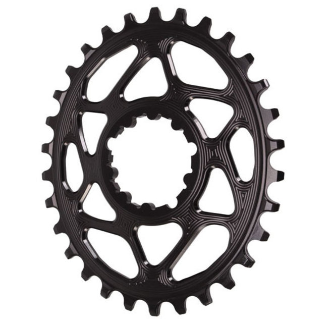 Absolute Black 30 tooth Spiderless SRAM 3-Bolt Direct Mount Oval Chainring, 3mm Offset (Boost)