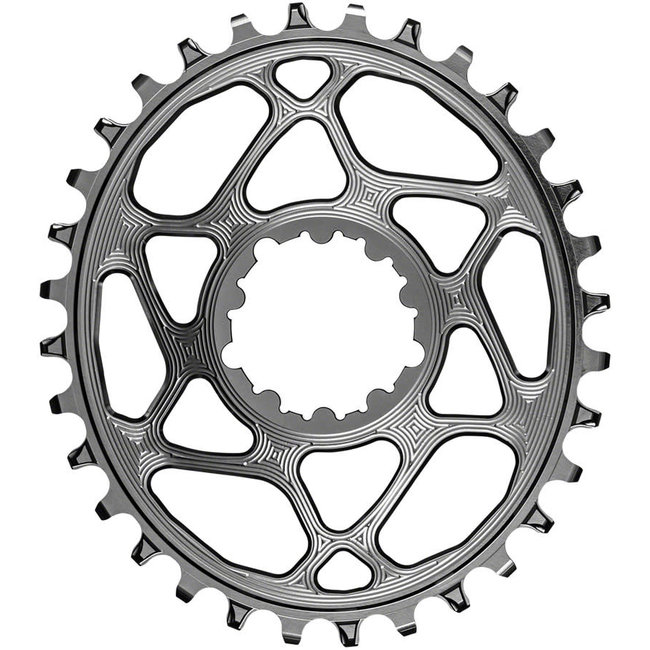 Absolute Black 34-Tooth Spiderless SRAM 3-Bolt Direct Mount Oval Chainring, 3mm Offset (Boost)
