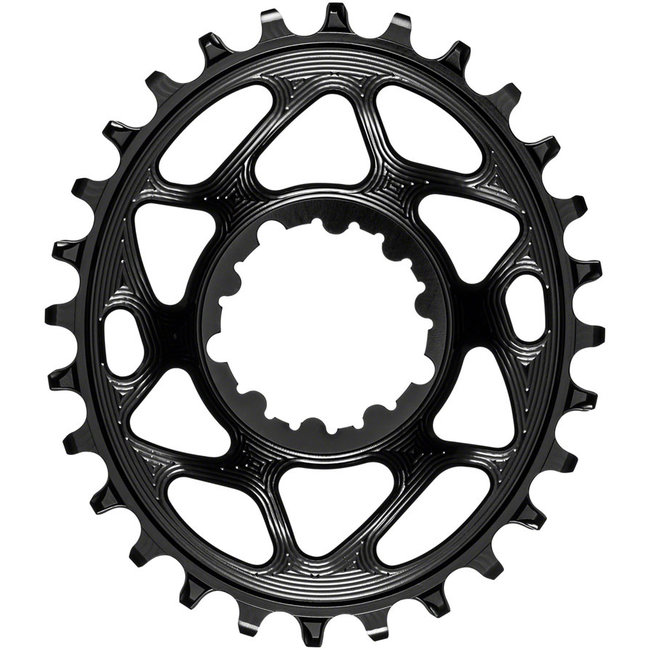 Absolute Black 32-Tooth Spiderless SRAM 3-Bolt Direct Mount Oval Chainring, 3mm Offset (Boost)