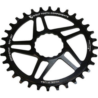 Wolf Tooth Components Wolf Tooth Direct Mount Chainring - 30t, RaceFace/Easton CINCH Direct Mount, Drop-Stop, For Boost Cranks, 3mm Offset, Black
