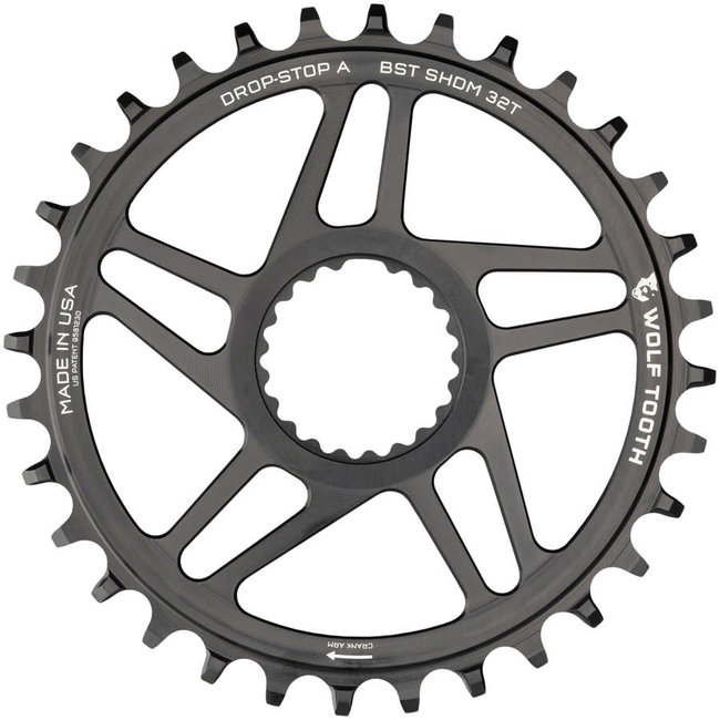 Wolf Tooth Direct Mount Chainring - 34t, Shimano Direct Mount, Drop Stop A, Boost, 3mm Offset, Black