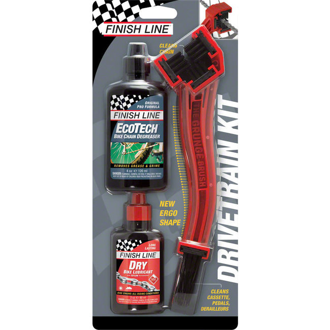 Finish Line Finish Line Starter Kit 1-2-3, Includes Grunge Brush, 4oz DRY Chain Lubricant and 4oz EcoTech Degreaser