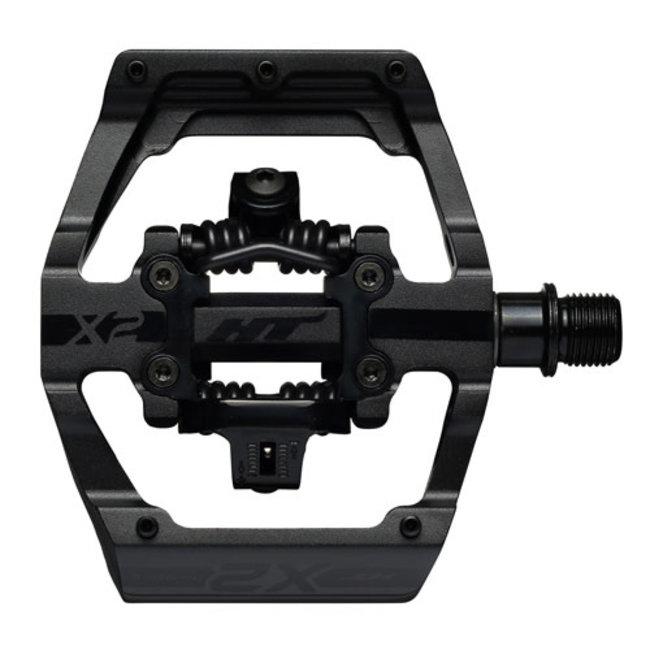 HT Pedals X2 Clipless Platform Pedals, CrMo - Stealth Black