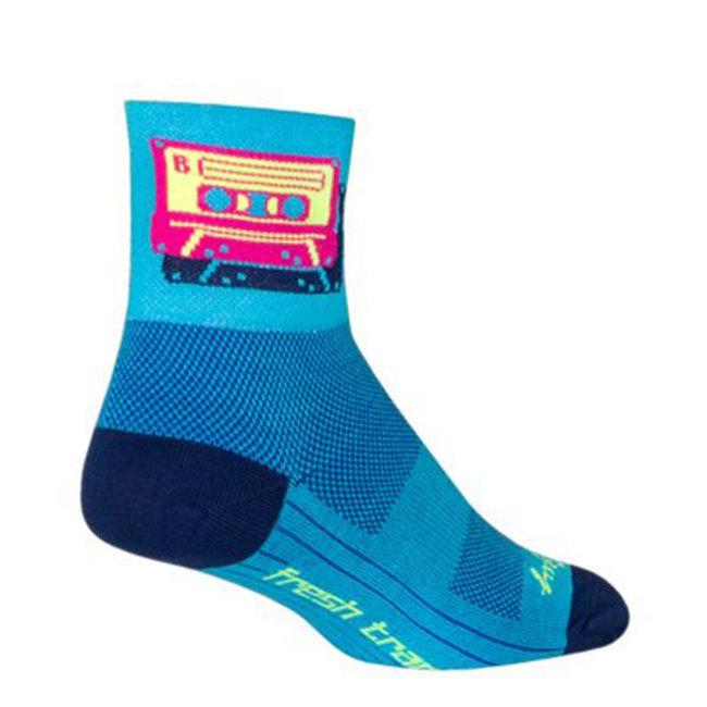 SockGuy Classic Mixtape Socks - 3 inch, Blue/Pink, Small/Medium