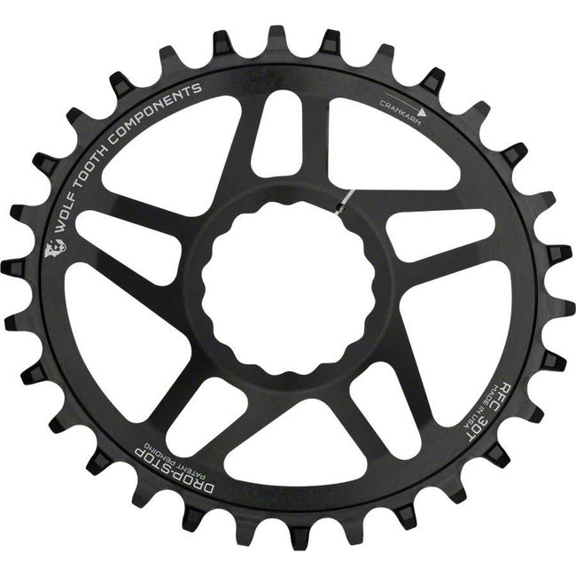 Wolf Tooth Components Powertrac Elliptical Direct Mount Drop-Stop Chainring: 34T, for RaceFace CINCH Cranks, Boost Chainline, Black