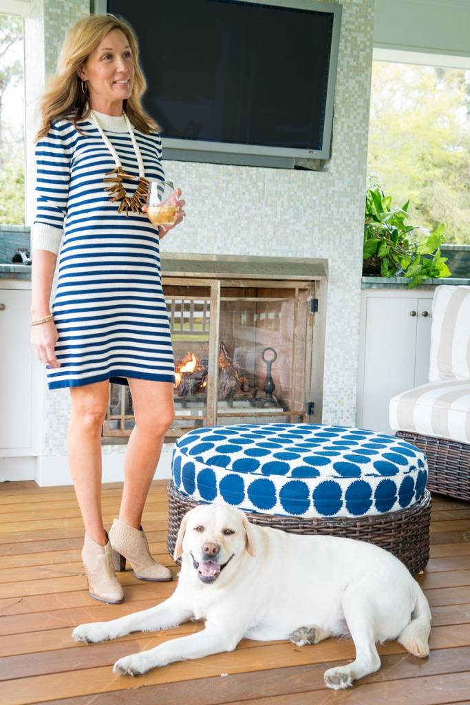 HALEY AND THE HOUND SWEATER DRESS in NAVY/IVORY STRIPE