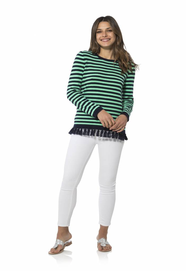 SAIL TO SABLE STRIPED TASSEL SWEATER