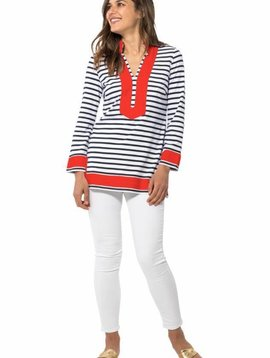 SAIL TO SABLE STRIPED KNIT LONG SLEEVE TUNIC TOP