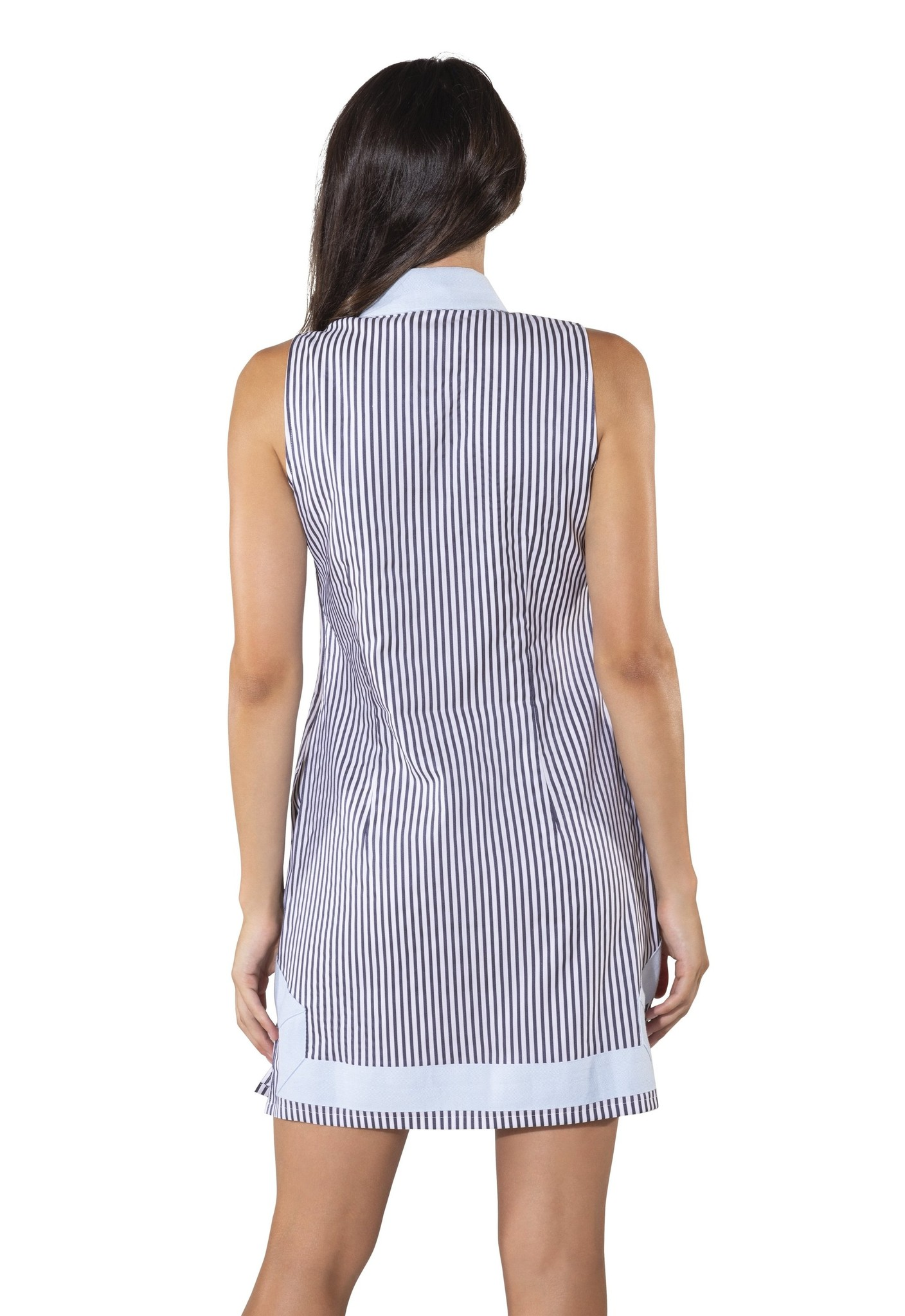 Stripe Shirting Sleeveless Classic Tunic