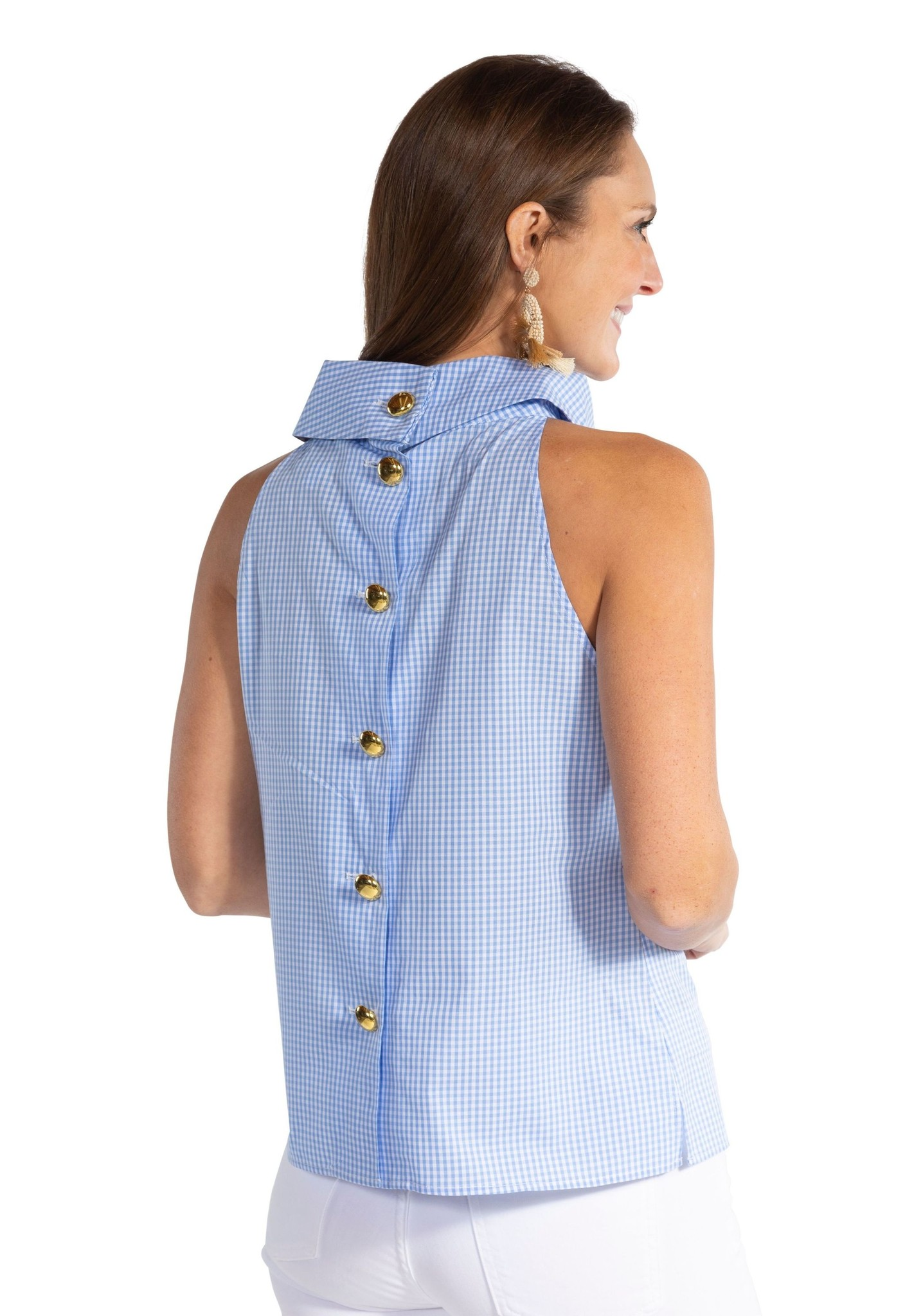GINGHAM COWL NECK TOP