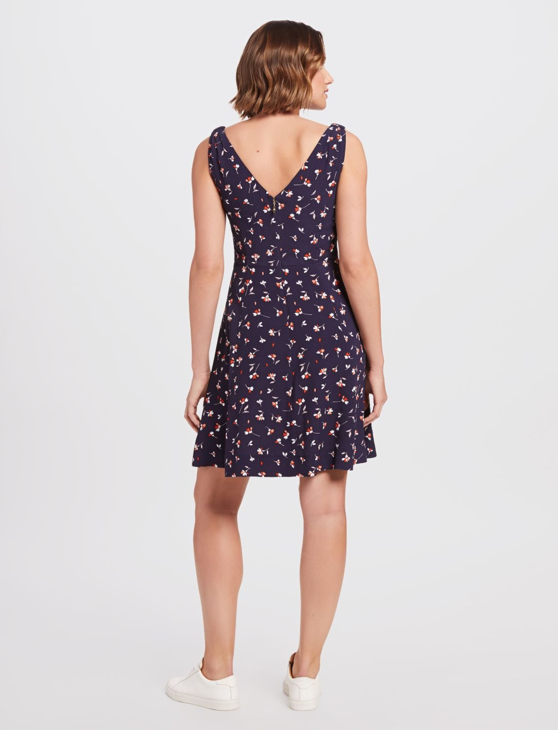 DRAPER JAMES Floral Knot Shoulder Dress