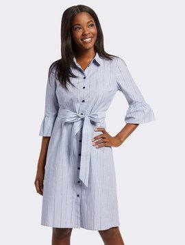 DRAPER JAMES Striped Ruffle Sleeve Shirtdress