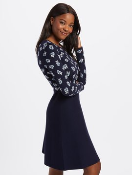 DRAPER JAMES Floral A-Line Sweater Dress
