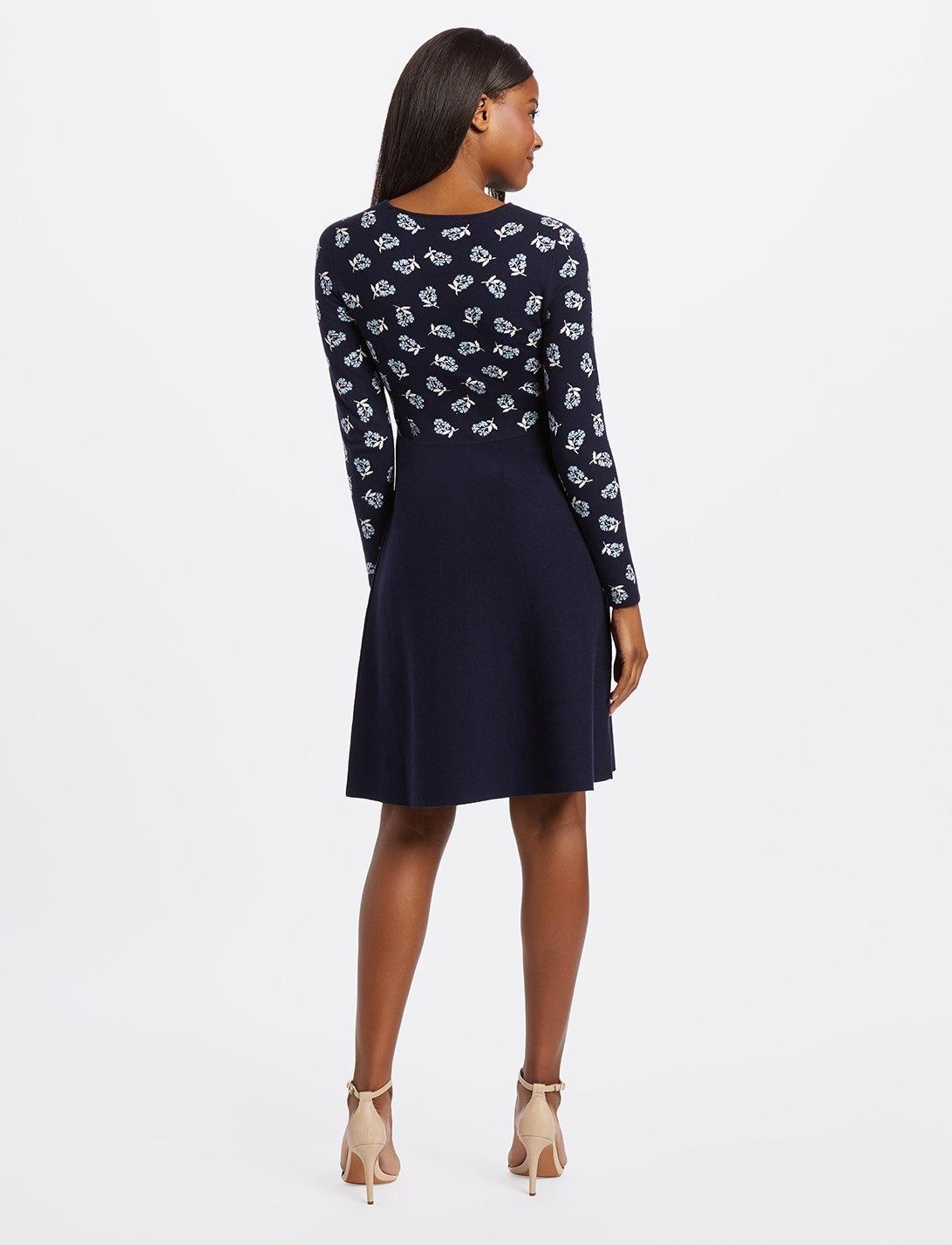 DRAPER JAMES Floral A-Line Sweater Dress