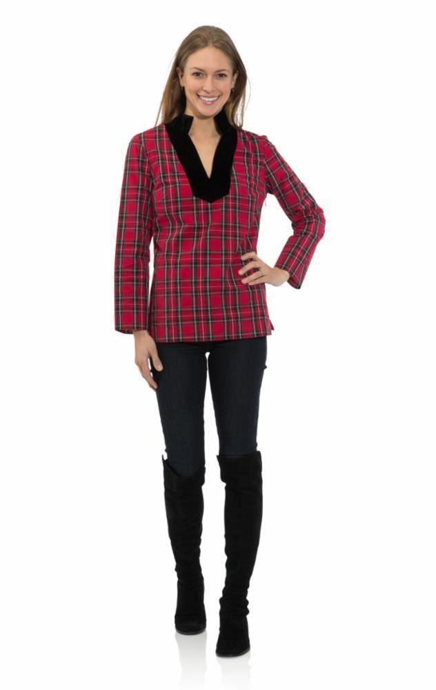 Stretch Cotton Plaid Tunic Top