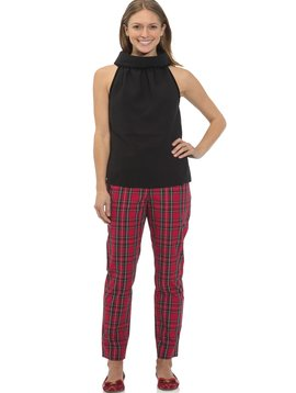 Stretch Cotton Plaid Pants