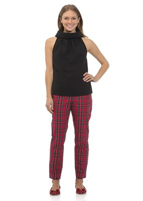 SAIL TO SABLE Stretch Cotton Plaid Pants
