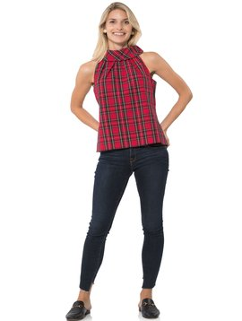 SAIL TO SABLE Stretch Cotton Plaid Cowl Neck Top