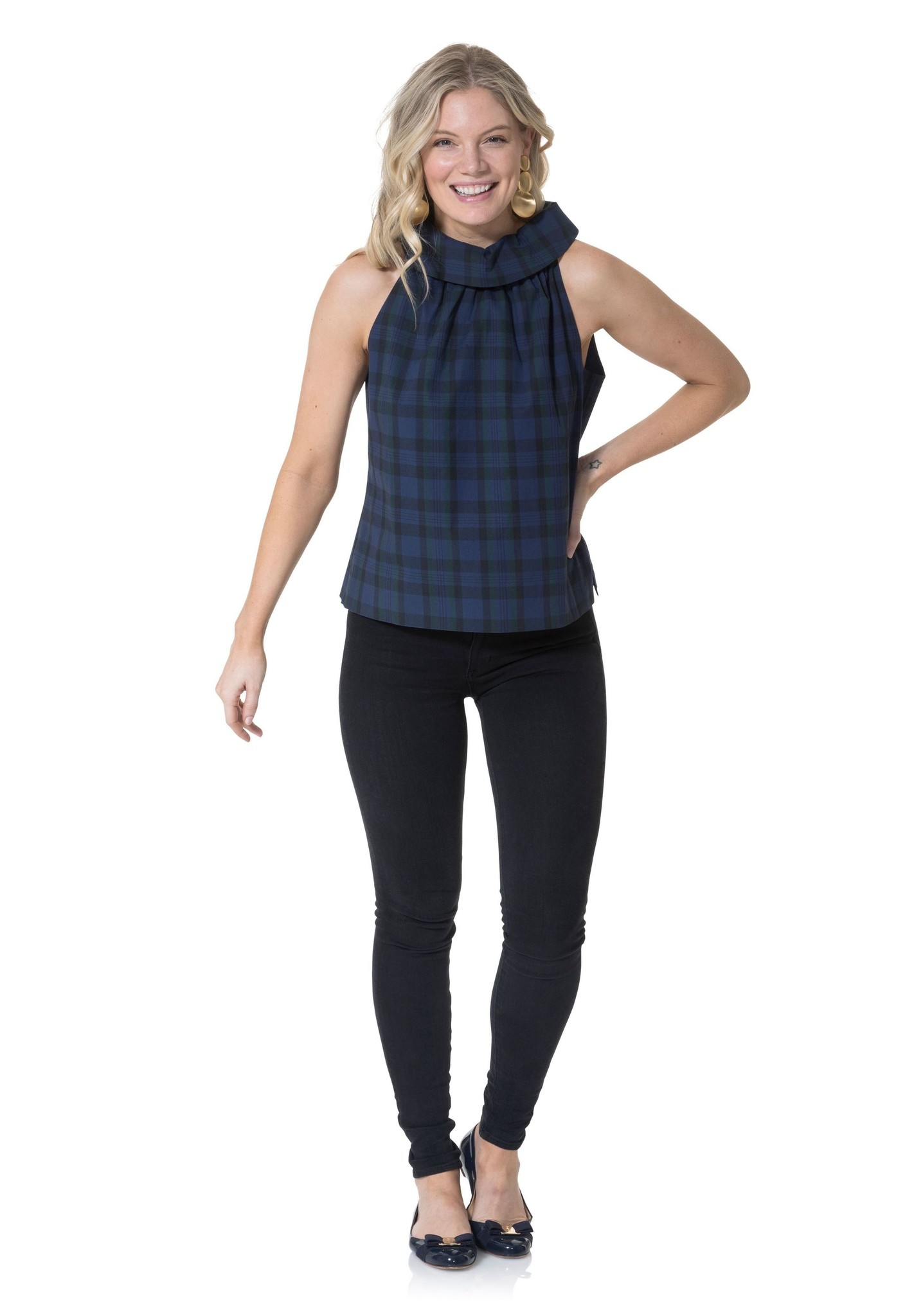 Stretch Cotton Plaid Cowl Neck Top