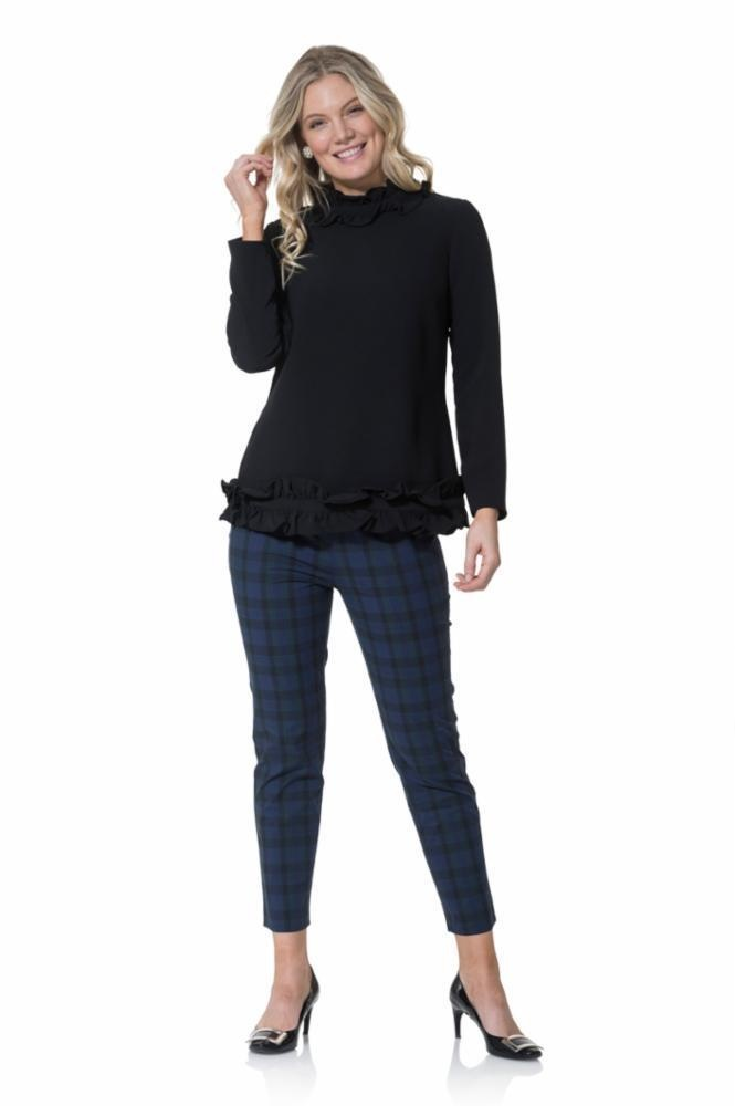 SAIL TO SABLE Poly Crepe Double Ruffle Long Sleeve Top