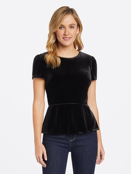 DRAPER JAMES Velvet V-Back Peplum Top