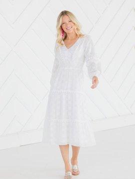 SAIL TO SABLE Embroidered Pom Pom Midi Dress