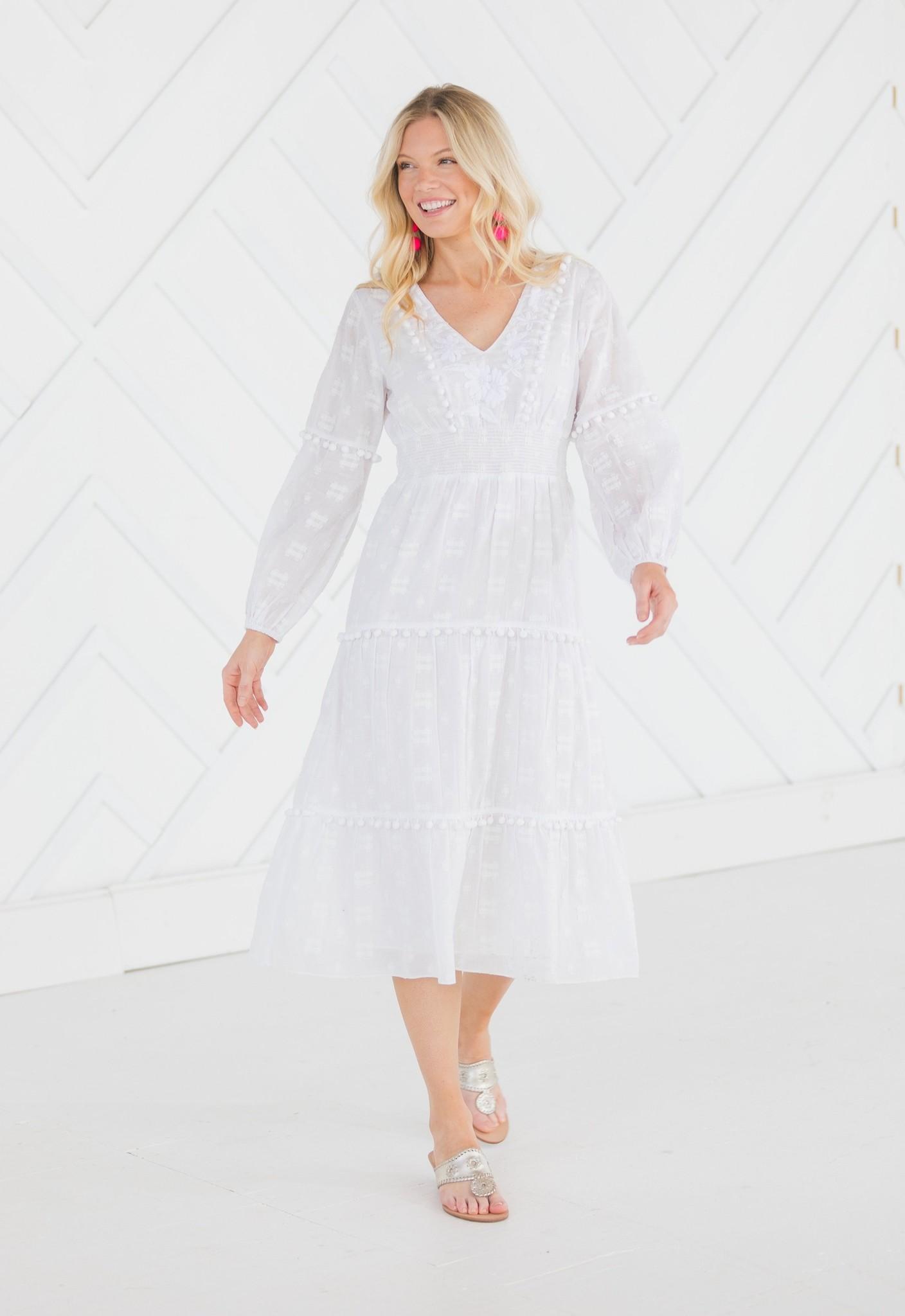 Embroidered Pom Pom Midi Dress