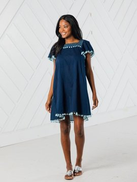 SHORT SLEEVE POM POM DRESS