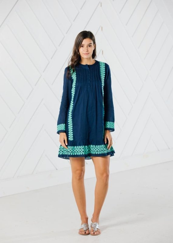 SAIL TO SABLE LONG SLEEVE EMBROIDERED DRESS
