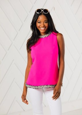 SAIL TO SABLE SLEEVELESS TOP WITH TWEED TRIM