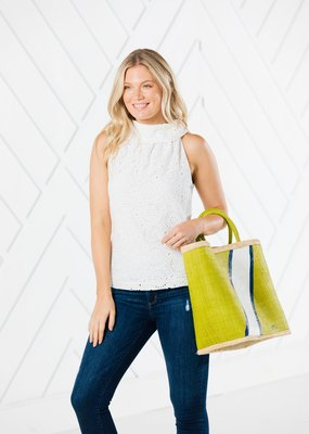SAIL TO SABLE WHITE EYELET COWL NECK TOP