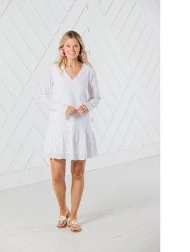 SAIL TO SABLE EMBROIDERED LONG SLEEVE DRESS WITH FLUTTER HEM