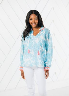 SAIL TO SABLE BLUE TOILE PRINT RUFFLE NECK TOP