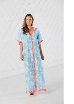SAIL TO SABLE BLUE TOILE PRINT CAFTAN