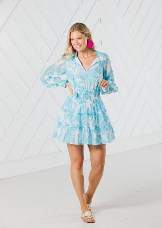 SAIL TO SABLE BLUE TOILE PRINT LONG SLEEVE TIERED DRESS